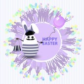 Easter cute illustration Rabbit-egg in the shape of a sailor with binoculars and with a balloon in his hands on a circle background with silhouette of people with gifts and with balloons