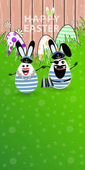 Easter illustration for your design Funny rabbit eggs on a green grassy lawn sailor and captain with binoculars