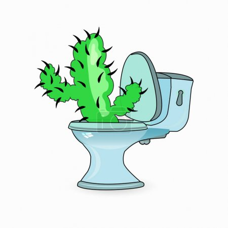 Illustration for Hemorrhoids concept. cactus and toilet bowl. vector illustration for your design. - Royalty Free Image
