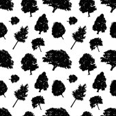 Seamless vector pattern black silhouettes style trees. Trees delicate branches, black and white background. Flat design Vector