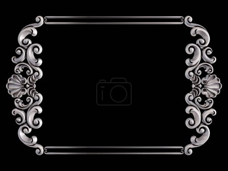 Chrome frame on a black background. Isolated