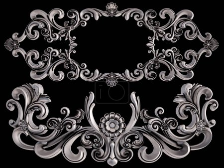 Photo for Chrome ornament on a black background. Isolated. 3D illustration - Royalty Free Image