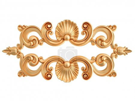 Photo for Gold ornament on a white background. Isolated. 3D illustration - Royalty Free Image