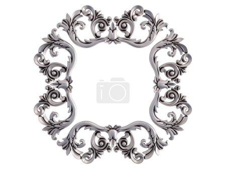 Photo pour Cadre chromé sur fond blanc. Isolé. Illustration 3D - image libre de droit