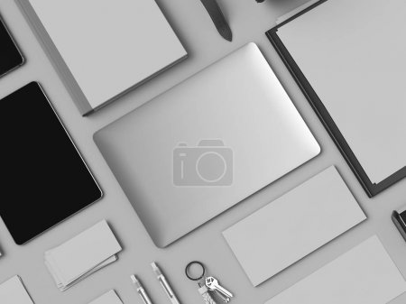 Photo pour Identité d'entreprise. Branding Mock Up. Des fournitures de bureau, Gadgets. Illustration 3D. Haute qualité - image libre de droit