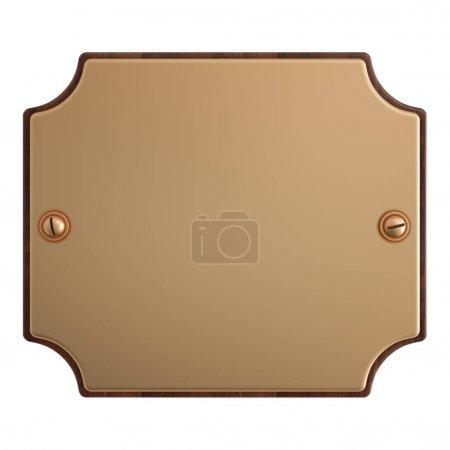 Photo pour Plaque métallique isolée sur fond blanc, Or. Illustration 3D - image libre de droit