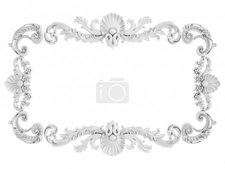 Photo for White ornament on a white background. Isolated. 3D illustration - Royalty Free Image