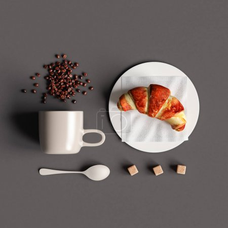 Photo pour Café avec croissant. Illustration 3D - image libre de droit