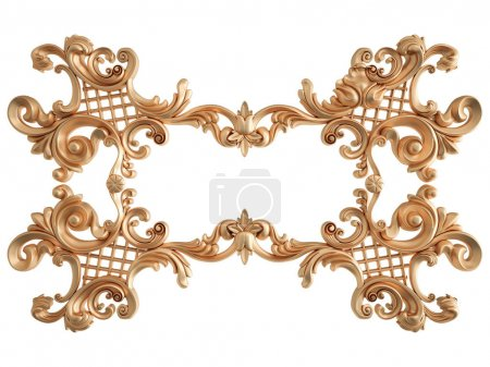 Gold ornament on a white background. Isolated