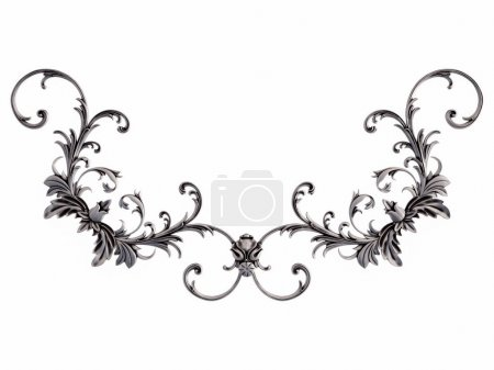 Photo for Chrome ornament on a white background. Isolated. 3D illustration - Royalty Free Image