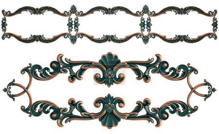 Photo pour Collection d'ornements en cuivre avec patine verte sur fond blanc. Isolé. Isolé. Illustration 3D - image libre de droit
