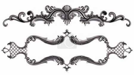 Photo for Crome ornamental segments seamless pattern on a white background. luxury carving decoration. Isolated. 3D illustration - Royalty Free Image