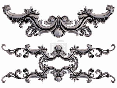 Photo pour Crome segments ornementaux motif sans couture sur un fond blanc. décoration de sculpture de luxe. Isolé. Illustration 3D - image libre de droit