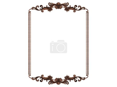 Photo for Wood ornament on a white background. Isolated. 3D illustration - Royalty Free Image