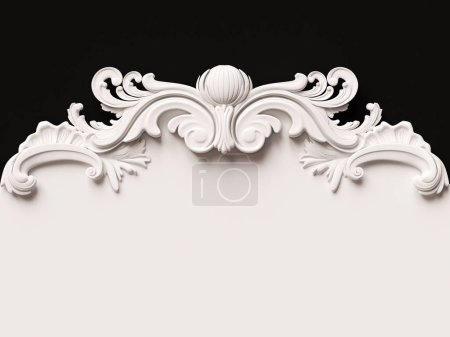 Photo for Vintage white card with ornament decoration. 3D illustration - Royalty Free Image