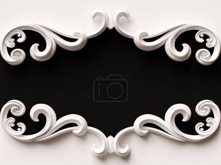 Photo pour Carte blanche vintage avec décoration ornementale. Illustration 3D - image libre de droit