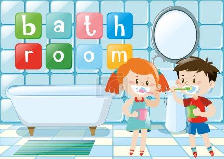 Deux enfants se brossant les dents dans la salle de bain