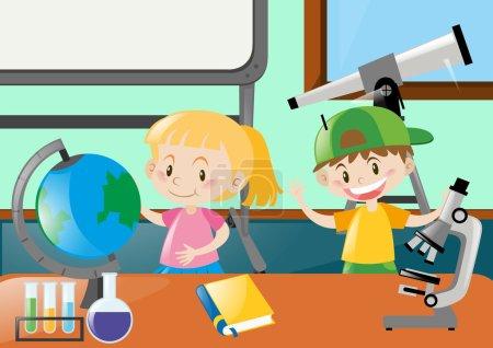Illustration pour Joyeux élèves apprenant en classe illustration - image libre de droit