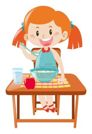 Illustration pour Fille sur table à manger manger illustration - image libre de droit