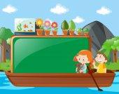 Border design with kids on boat