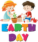 Earth day theme with kids planting tree