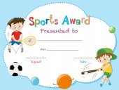 Certificate template with two boys playing sports