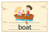 Wordcard template for word boat