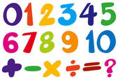 Font design for numbers and sign in colors illustration