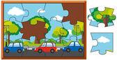 """Постер, картина, фотообои """"Головоломки игры с автомобилями на дороге"""""""