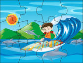 Jigsaw puzzle pieces for boy on surfboard illustration