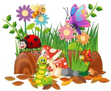 Illustration pour Différents types d'insectes dans l'illustration du jardin - image libre de droit