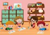 Children reading books in room