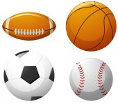 Four different kinds of balls illustration