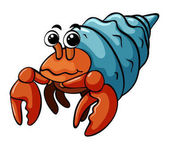 Hermit crab with happy face illustration