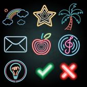 Neon light decoration with different items