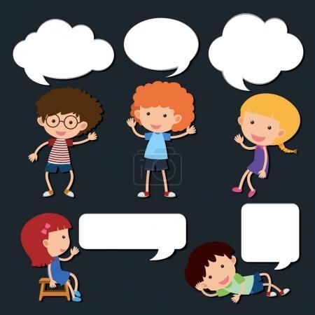 Illustration pour Enfants heureux avec illustration de bulles de discours vierges - image libre de droit