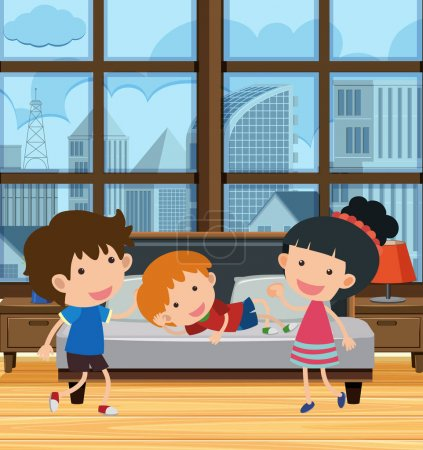 Illustration for Kids Playing in Apartment with City View illustration - Royalty Free Image