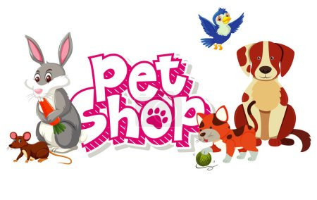 Font design for pet shop with many cute animals il...