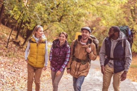 Photo pour Groupe de joyeux jeunes voyageurs marchant dans la forêt d'automne - image libre de droit
