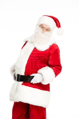 Photo pour Vue de longueur trois-quarts du père Noël pose et gesticulant isolés sur blanc - image libre de droit