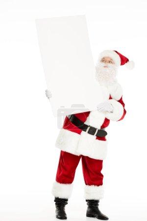 Photo pour Père Noël avec tableau blanc vierge dans les mains, isolé sur blanc - image libre de droit