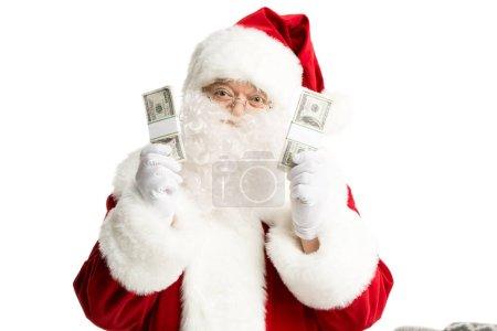 Happy Santa Claus showing dollars