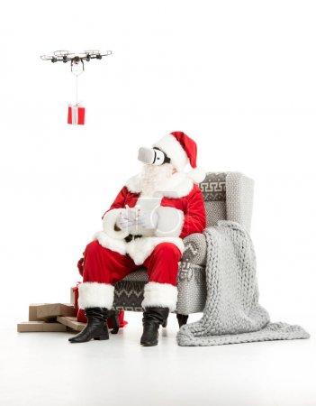 Santa Claus using drone