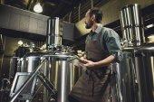 """Постер, картина, фотообои """"Работник осматривает оборудование на пивоварне"""""""