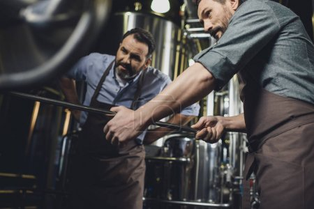 Brewers working with industrial equipment
