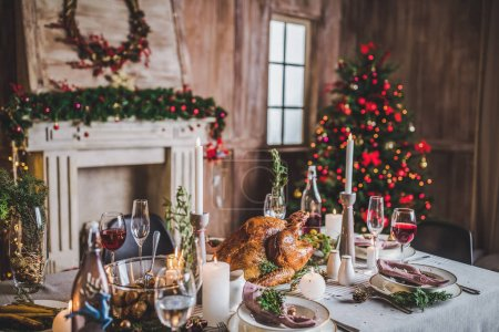 Photo for Delicious roasted turkey on served for Christmas holiday table - Royalty Free Image