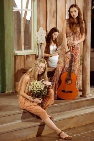 Young women in bohemian style