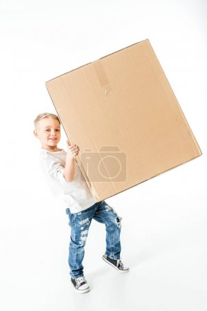 Photo for Cute little boy holding cardboard box isolated on white - Royalty Free Image