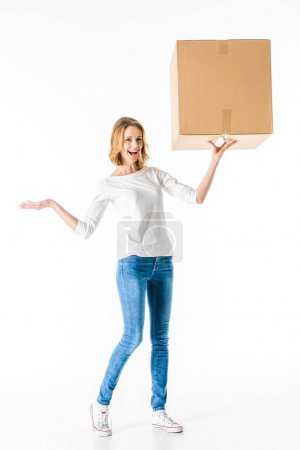 Young woman with box