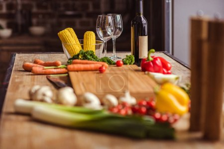 Fresh vegetables and wine